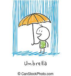 uomo, ombrello, pioggia, sotto