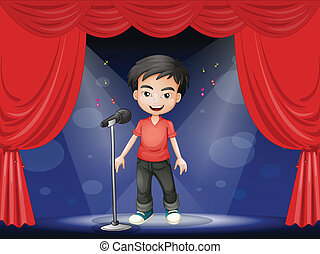 uomo, palcoscenico, compiendo, giovane