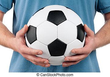 uomo, palla calcio, classico