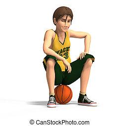 uomo, pallacanestro, giochi, giovane