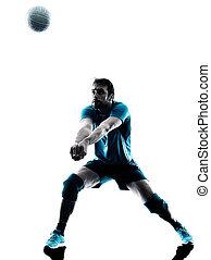 uomo, pallavolo, silhouette