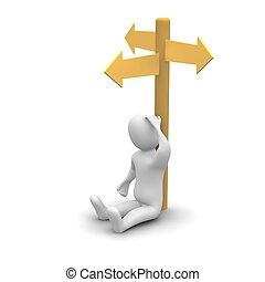 uomo, pensare, circa, destra, direction., 3d, reso,...