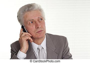 uomo più anziano, affari, seduta