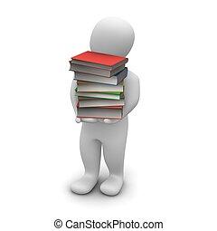 uomo, portante, alto, pila, di, libro copertina dura, books., 3d, reso, illustration.