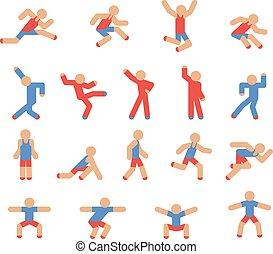 uomo, pose, correndo, saltare, ballo