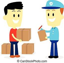uomo, postino, trasmettere, distribuire, pacchetti