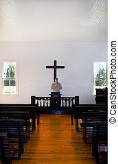 uomo, pregare, in, storico, chiesa