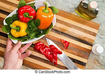 uomo, preparare, uno, sano, fresco, insalata