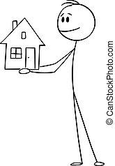 uomo, presa a terra, o, vettore, uomo affari, illustrazione, famiglia, sorridente, casa, piccolo, cartone animato