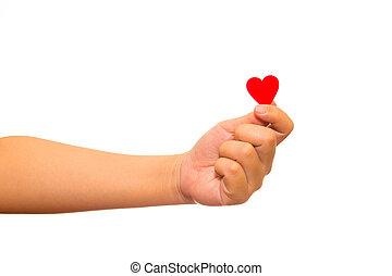 uomo, presa a terra, rosso, cuore carta, in, suo, mani