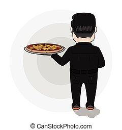 uomo, presa, affari, pizza