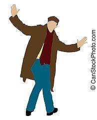 uomo, proposta, giovane, cappotto