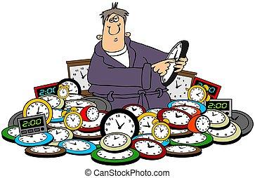 uomo, regolazione, tempo, su, clocks