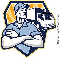 uomo rimozione, spostamento, furgone consegna, cresta, retro