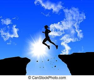 uomo saltando, rocce