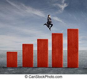 uomo saltando, su, statistico