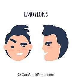 uomo, scettico, emozioni, appartamento, vettore, concetto