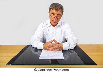 uomo, scrivania, suo, affari, seduta