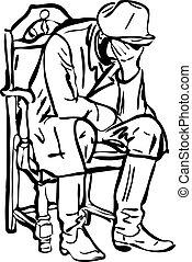 uomo, sedia, in pausa, stivali, seduta