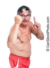 uomo senior, arrabbiato, shirtless