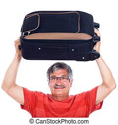 uomo senior, bagaglio