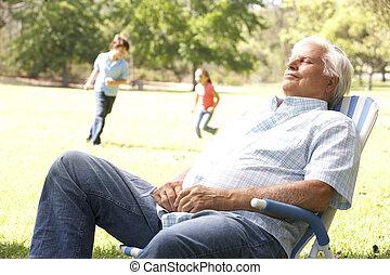 uomo senior, rilassante, parco, con, nipoti, in, fondo