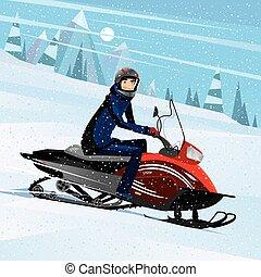 uomo, sentiero per cavalcate, su, uno, snowmobile