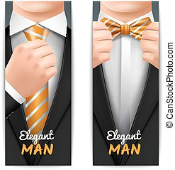 uomo, set, bandiere, elegante