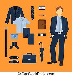 uomo, set, vestiti affari
