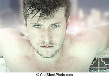 uomo, sexy, faccia, giovane