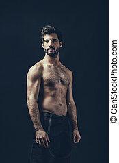uomo, shirtless