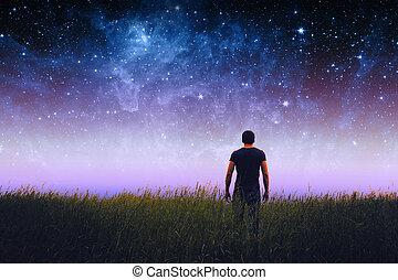 uomo, silhouette, ., elementi, di, questo, immagine, ammobiliato, vicino, nasa