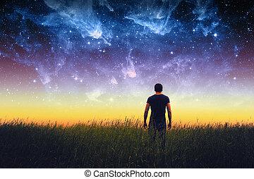 uomo, silhouette., elementi, di, questo, immagine, ammobiliato, vicino, nasa.