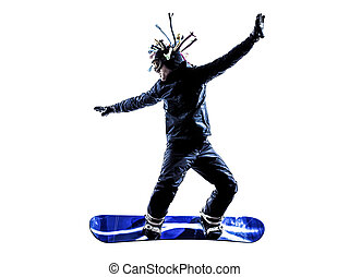 uomo, silhouette, giovane, snowboarder