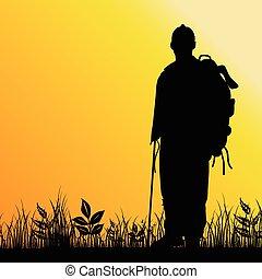 uomo, silhouette, illustrazione, natura