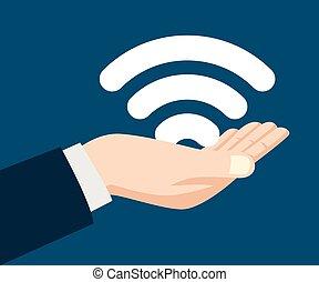 uomo, simbolo, wifi, tenendo mano