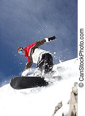 uomo, snowboarding
