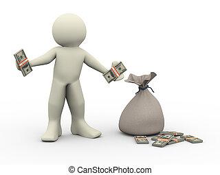 uomo soldi, 3d, borse