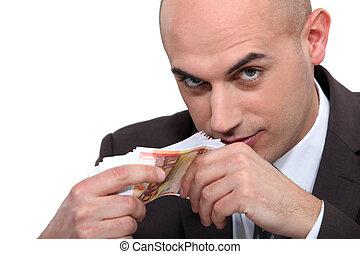 uomo, soldi, calvo, affari, odorando