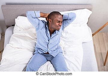 uomo, sonnolento, vista elevata