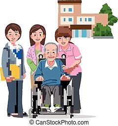 uomo sorridente, anziano, caregivers
