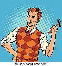 uomo sorridente, con, uno, martello, casa ripara