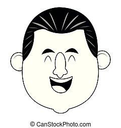 uomo sorridente, faccia adulta