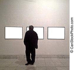 uomo, stanza, galleria