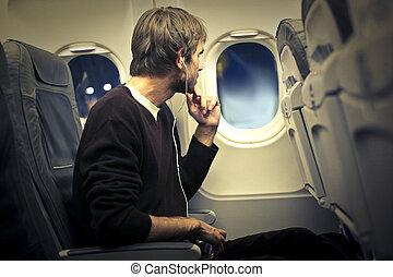 uomo, su, aeroplano