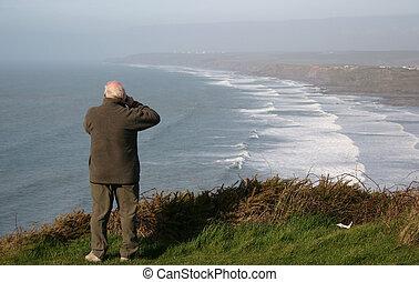 uomo, su, cliff-top