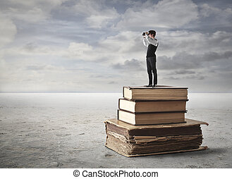 uomo, su, libri
