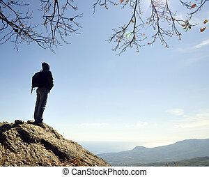 uomo, su, picco, di, mountain.