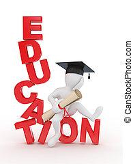 uomo, su, testo, education., 3d