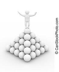 uomo, su, uno, pyramid., isolato, 3d, immagine